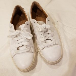 Frye White Leather Sneakers White Shoe Laces 5.5